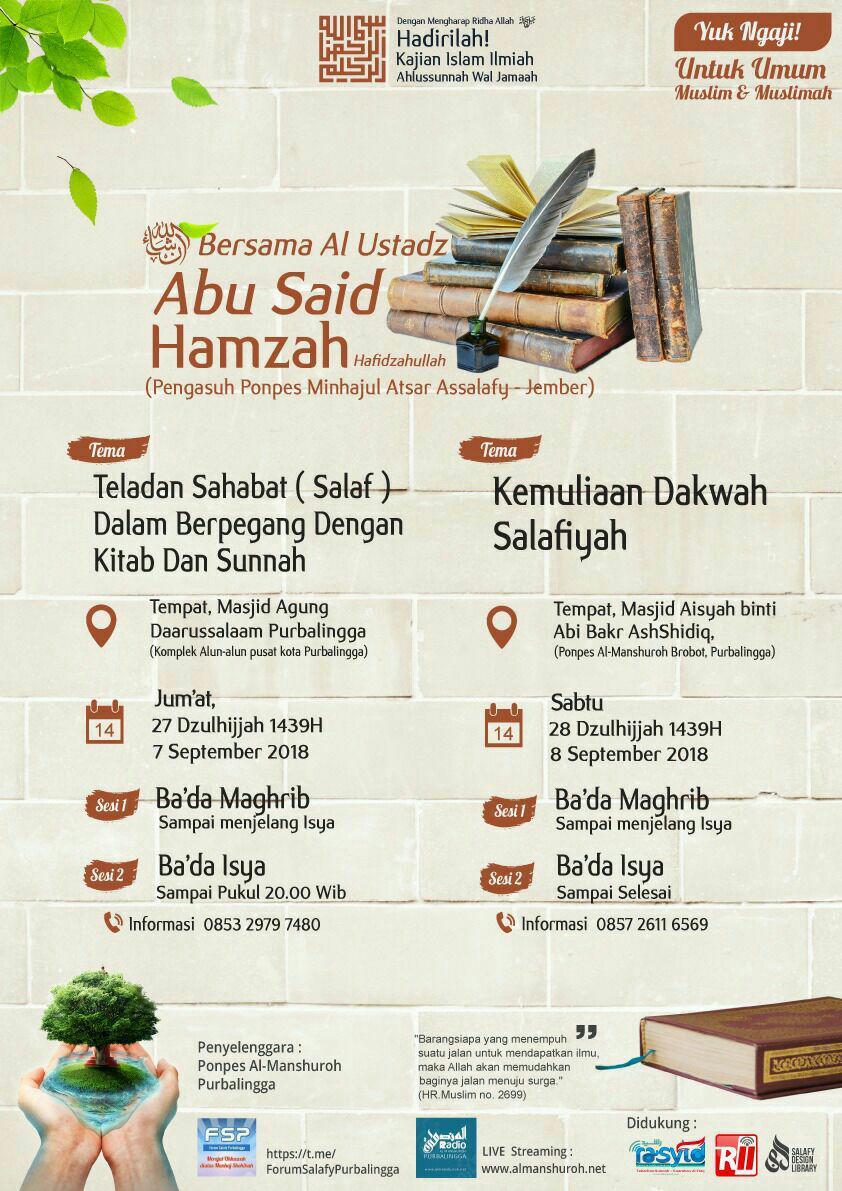 Audio Kajian Ilmiah Ustadz Abu Said Hamzah 27-28 Dzulhijjah 1439 di Purbalingga