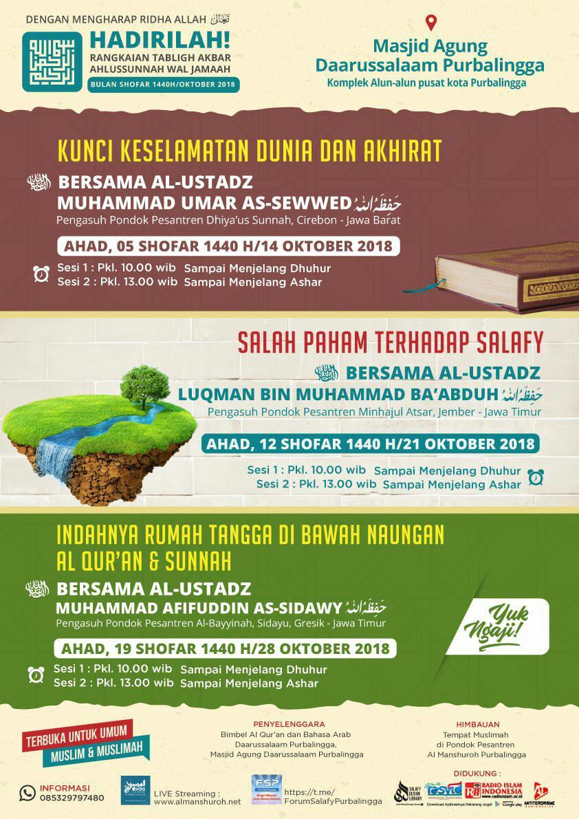 RANGKAIAN TABLIGH AKBAR AHLUSSUNNAH WAL JAMAAH BULAN SHAFAR 1440 H / OKTOBER 2018 di Purbalingga