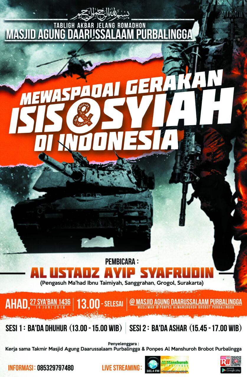 """AUDIO """"Mewaspadai Gerakan Isis dan Syiah di Indonesia"""" Ustadz Ayip Syafrudin"""
